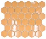 Keramik Mosaik Hexagon ockerorange glänzend Mosaikfliese Wand Fliesenspiegel Küche Bad MOS11H-1208_f
