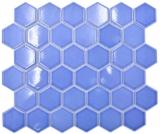 Keramik Mosaik Hexagon türkisgrün glänzend Mosaikfliese Wand Fliesenspiegel Küche Bad