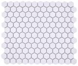 Keramik Mosaik Hexagon weiß R10B Duschtasse Bodenfliese Mosaikfliese  Küche Bad Boden MOS11H-0101-R10_f
