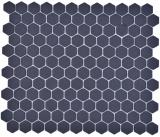 Keramik Mosaik Hexagon schwarz R10B Duschtasse Bodenfliese Mosaikfliese  Küche Bad Boden MOS11H-0003-R10_f