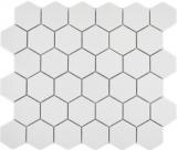 Keramik Mosaik Hexagon weiß R10B Duschtasse Bodenfliese Mosaikfliese  Küche Bad Boden MOS11H-0111-R10_f
