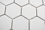 Keramik Mosaik Hexagon weiß R10B Duschtasse Bodenfliese Mosaikfliese  Küche Bad Boden MOS11H-0111-R10_m