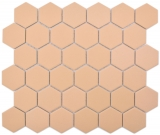 Keramik Mosaik Hexagon ockerorange R10B Duschtasse Bodenfliese Mosaikfliese  Küche Bad Boden MOS11H-0808-R10_f