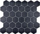 Keramik Mosaik Hexagon schwarz R10B Duschtasse Bodenfliese Mosaikfliese  Küche Bad Boden MOS11H-0303-R10_f