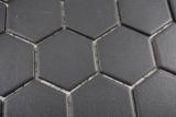 Keramik Mosaik Hexagon schwarz R10B Duschtasse Bodenfliese Mosaikfliese  Küche Bad Boden MOS11H-0303-R10_m