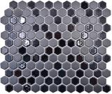 Keramik Mosaik Hexagon schwarz glänzend R10B Duschtasse Bodenfliese Mosaikfliese  Küche Bad Boden MOS11H-0301-R10_f