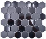 Keramik Mosaik Hexagon schwarz glänzend R10B Duschtasse Bodenfliese Mosaikfliese  Küche Bad Boden MOS11H-0311-R10_f