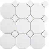 Keramik Mosaik Octa weiß matt mit weiß glänzend Mosaikfliese Wand Fliesenspiegel Küche Bad