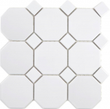 Keramik Mosaik Octa weiß matt mit weiß glänzend Mosaikfliese Wand Fliesenspiegel Küche Bad MOS13-Octa0111_f