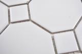 Keramik Mosaik Octa weiß matt mit weiß glänzend Mosaikfliese Wand Fliesenspiegel Küche Bad MOS13-Octa0111_m