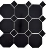 Keramik Mosaik Octa schwarz matt mit schwarz glänzend Mosaikfliese Wand Fliesenspiegel Küche Bad