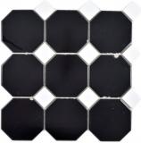 Achteck Mosaik Keramik Octa schwarz matt mit weiß glänzend Mosaikfliese Wand Fliesenspiegel Küche Bad MOS13-Octa0301_f