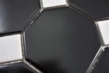 Keramik Mosaik Octa schwarz matt mit weiß glänzend Mosaikfliese Wand Fliesenspiegel Küche Bad MOS13-Octa0301_m