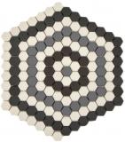 Mosaik Dekor GLASMOSAIK Hexagon grau schwarz weiß matt Mosaikfliese Wand Fliesenspiegel Küche Bad MOS140-ROHX3_f