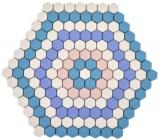 GLASMOSAIK Hexagon DEKOR blau rosa weiß matt Mosaikfliese Fliesenspiegel Wand Küche Bad