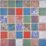 buntes Keramikmosaik Vintage Retro used look Mosaikfliese Wand Fliesenspiegel Küche Bad