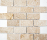 Mosaikfliese Travertin Naturstein beige Brick Inula Chiaro Antique Travertin MOS43-1202