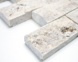Mosaikfliese Travertin Naturstein weißgrau Brick Splitface silber Travertin 3D MOS29-42781