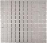 Mosaik Fliese Keramik hellgrau unglasiert MOS18-0204-R10