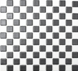 Mosaikfliese Keramik RUTSCHSICHER Schachbrett schwarz weiß matt MOS18-0305-R10