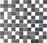 Mosaikfliese Keramik schwarz weiß anthrazit matt Duschtasse MOS18-2213-R10