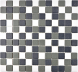 Mosaik Fliese Keramik schwarz weiß metall MOS18-2213-R10