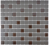 Mosaikfliese Bad Keramik dunkelgrau braun unglasiert Glasmosaik MOS18-1313-R10