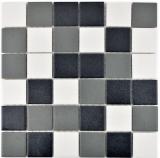Mosaik Fliese Keramik schwarz weiß metall MOS14-2213-R10