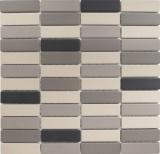 Mosaik Fliese Keramik hellbeige grau Stäbchen unglasiert MOS24B-0208-R10