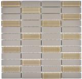 Mosaik Fliese Keramik Stäbchen hellgrau unglasiert Glas MOS24-0212-R10