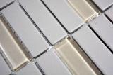 Mosaikfliese Keramik Stäbchen hellgrau unglasiert Glas Duschtasse Bodenfliese MOS24-0212-R10_m