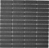 Mosaik Fliese Keramik Stäbchen schwarz unglasiert MOS24B-0310-R10