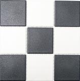 Mosaikfliese Keramik chachbrett schwarz weiß Duschtasse Bodenfliese MOS22-0304-R10