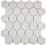 Mosaikfliese Keramik cremeweiß Hexagaon gesprenkelt unglasiert MOS11G-0103-R10