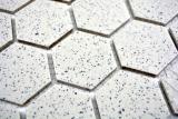 Mosaikfliese Keramik cremeweiß Hexagaon gesprenkelt unglasiert MOS11G-0103-R10_m