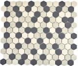 Mosaikfliese Keramik beige schwarz Hexagaon unglasiert MOS11A-0113-R10