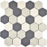 Mosaikfliese Keramik beige schwarz Hexagaon unglasiert MOS11G-0113-R10