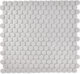Mosaik Fliese Keramik Knopf hellgrau unglasiert MOS10-0202-R10