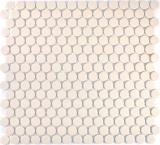 Mosaik Fliese Keramik weiß Knopf hellbeige unglasiert MOS10-1202-R10