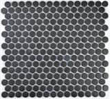 Knopfmosaik LOOP Rundmosaik Duschtasse Boden schwarz anthrazit MOS10-0304-R10