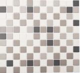 Mosaikfliese Keramik hellbeige grau unglasiert MOS18-0205