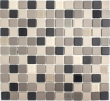 Mosaikfliese Keramik hellbeige grau unglasiert Glas MOS18-CUG60