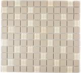Mosaik Fliese Keramik hellbeige unglasiert Glas MOS18-1212-R10