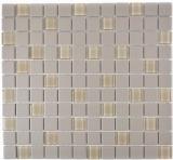 Mosaik Fliese Keramik hellgrau unglasiert Glas MOS18-0212-R10