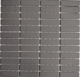 Mosaik Fliese Keramik Stäbchen grau unglasiert MOS24B-0204-R10