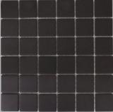 Mosaik Fliese Keramik schwarz unglasiert MOS14B-0303-R10