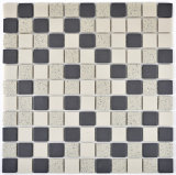 Mosaik Fliese Keramik beige schwarz unglasiert MOS18-0113-R10