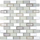 Mosaik Fliese Transluzent Keramik weiß Brick Glasmosaik Crystal Keramik altweiß MOS83IC-0121
