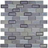 Mosaik Fliese Transluzent Keramik grau Brick Glasmosaik Crystal Keramik altgrau MOS83IC-0229