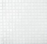 Mosaikfliese Glas weiß Mosaikfliese Wand Fliesenspiegel Küche Bad MOS50-0101